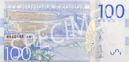 Nya 100 kronorssedelns baksida