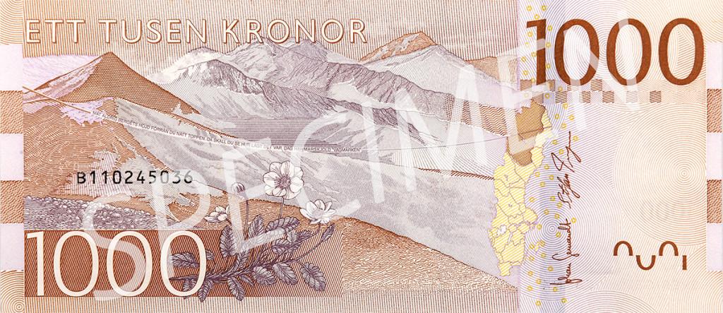 Nya 1000 kronorssedelns baksida