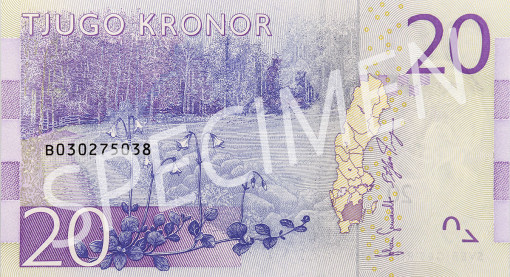 Nya 20 kronorssedelns baksida
