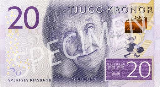 Den nya 20 kronorssedelns framsida