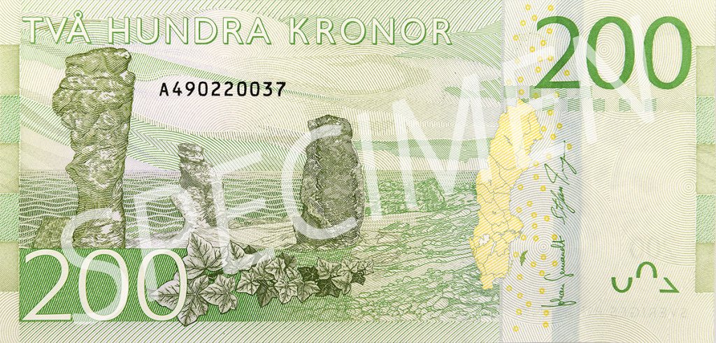 Nya 200 kronorssedelns baksida
