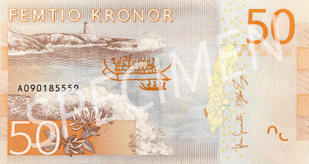 Nya 50 kronorssedelns baksida