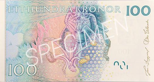 Den gamla 100 kronorssedelns baksida