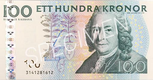 Den gamla 100 kronorssedelns framsida
