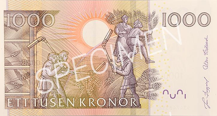 Gamla 1000 kronorssedelns baksida