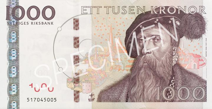 Den gamla 1000 kronorssedelns framsida