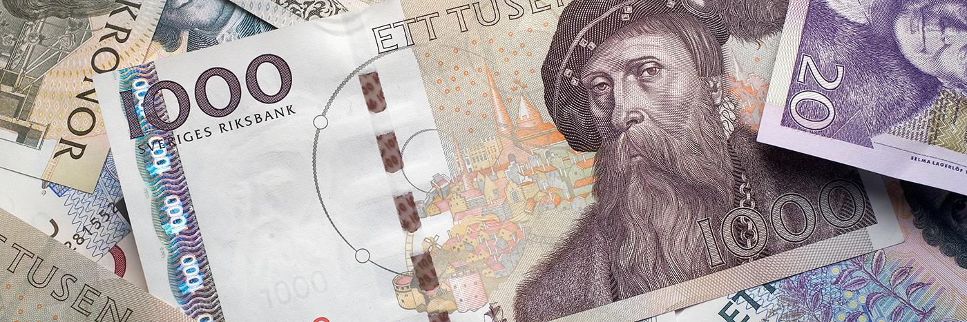 Den gamla 1000 kronorssedeln pryds av Gustav Vasa