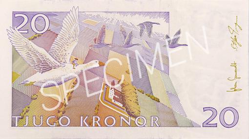 Gamla 20 kronorssedelns baksida