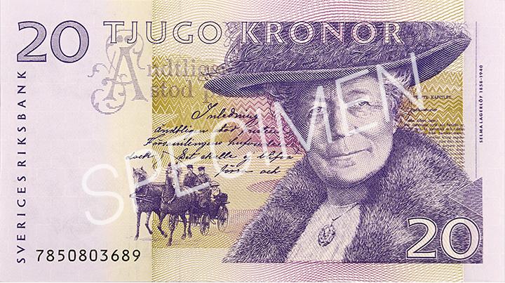 Den gamla 20 kronorssedelns framsida