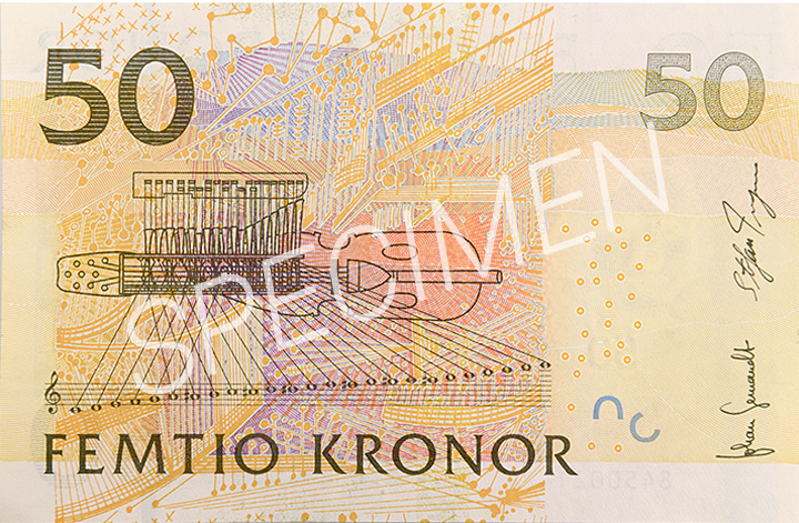 Gamla 50 kronorssedelns baksida