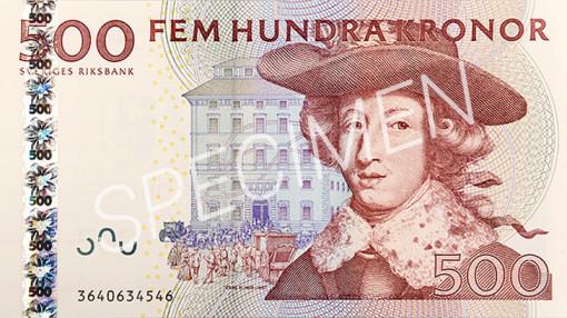 Den gamla 500 kronorssedelns framsida
