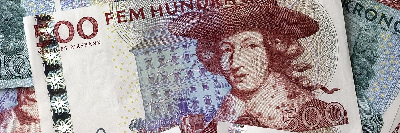 Den gamla 500 kronorssedeln pryds av Karl XI